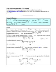 Proofs of Derivative Applications Facts