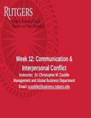 Slides - Wk12 Interpersonal Conflict