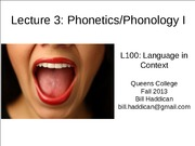 Lecture 3 Phonetics and Phonology