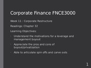 Fin Corp Week 11 Lecture