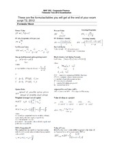Formula sheet and Tables for Final Exam MAF302