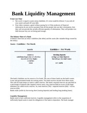 Bank Liquidity Management