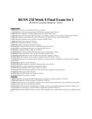 BUSN 258 Customer Relations Week 8 Final Exam 1