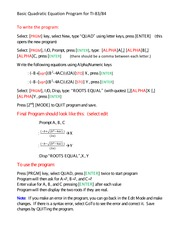 Basic Quadratic Equation Program for TI