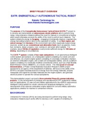 Overview Of EATR Project Brief 6 April 09