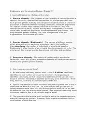 Biodiversity and Conservation Biology (Chapter 11).docx