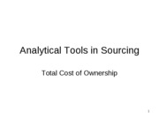 Analytical Tools in Sourcing - total cost