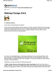 Article - Making Change Stick