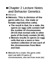Chapter 2 Lecture Notes and Behavior Genetics