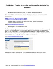 Accessing MyLab courses at Owens Community College Students