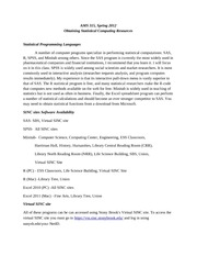 Obtaining Statistical Computing Resources Spring 2012