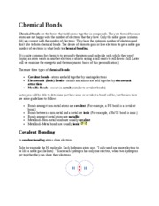 Lecture Note - Chemical Bonds