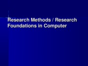 Insights into Multimedia Research - Lecture 1