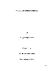 RESEARCH PAPER ON AUTISM