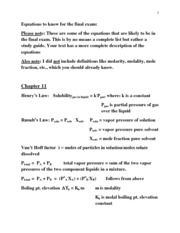 Equations for final 1412 Fall 2012