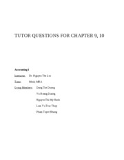 TUTOR QUESTIONS FOR CHAPTER 9,10