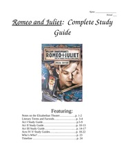 Romeo and Juliet complete study guide