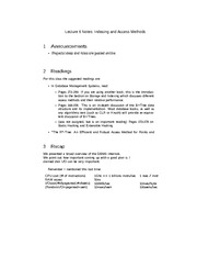 Lecture 6 Notes Indexing and Access Methods