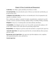 Chapter 10 Notes (Leadership and Management)