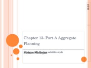 Chapter 13- Part A Aggregate Planning