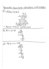 geometry classnote: operations with integers