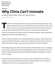 Why China Can't Innovate
