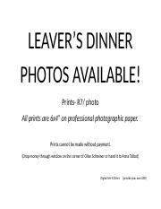 leavers dinner photo announcement