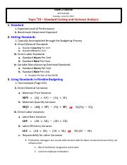 Exam 2 Study Guide - 10 - Standard Costing & Variance Analysis - ACC 630 - SUMMER 2017
