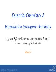 Week 7 Sn1 Sn2 stereoisomers R S nomenclature optical activity.pdf