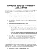 DEFENSE OF PROPERTY AND HABITATION Notes