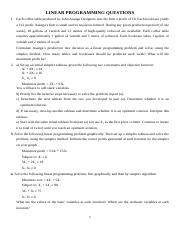 LINEAR PROGRAMMING QUESTIONS