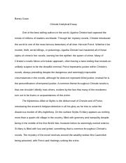 Christie Analytical Essay