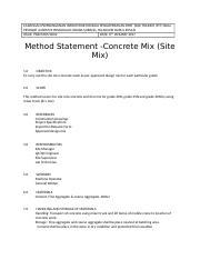 METHOD OF STATEMENT CONCRETE MIX - CADANGAN PEMBANGUNAN ...
