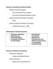 Genetic Counseling Profession Notes