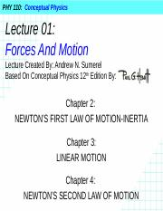 PHY 110 Lecture 01 - Forces And Motion (1).pptx