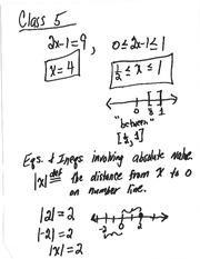 Class 5 Notes (Absolute Value Equations and Inequalities)