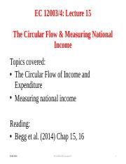 Lecture 15 The Circular Flow and Measuring National Income
