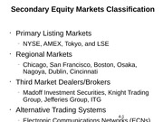 Secondary Equity Markets Classification