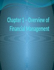 Chapter 1 – Overview of Financial Management