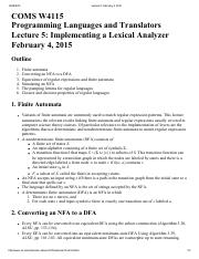 Lecture 5 Implementing a Lexical Analyzer