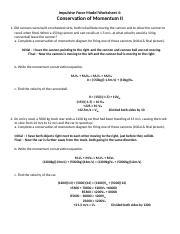 Impulsive Force Model Worksheet 4 - A Solutions - Impulsive Force ...