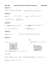 Math 1042 - Final Review - Answer Key