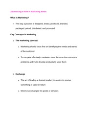 Advertiser role in Marketing Notes