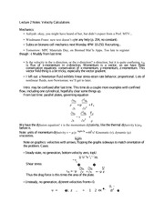 Lecture 2 Notes Velocity Calculations