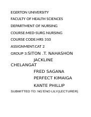 EGERTON UNIVERSITY FACULTY OF HEALTH SCIENCES DEPARTMENT OF NURSING CO