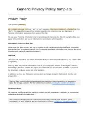 Privacy Policy Template Pdf Generic Last Updated Add Date My Company Change This Us We Or Our Operates H