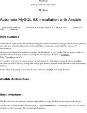 Automate MySQL 8 0 Installation with Ansible – Mydbops pdf