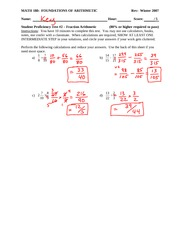 Student Proficiency Test 2 Solution on Fraction Arithmetic and Simplifying