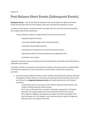 green financial statements and subsequent events Note 16 – subsequent events any events that occur between the end of the period covered by the financial statements (08/31/cy) and the statement completion date.