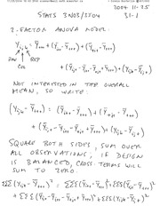 STATS 3N03 Factor ANOVA Model Notes